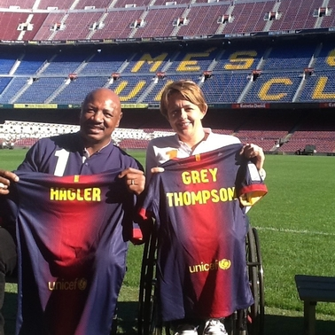 With Marvin Hagler at Camp Nou